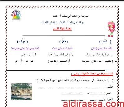أوراق عمل لغة عربية للصف الثالث أقسام الكلمة وأنواع الفعل للمعلمة عبير منصور