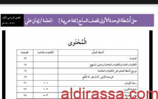 حل الوحدة الأولى عربي للصف السابع الفصل الأول إعداد المعلمة إيمان علي