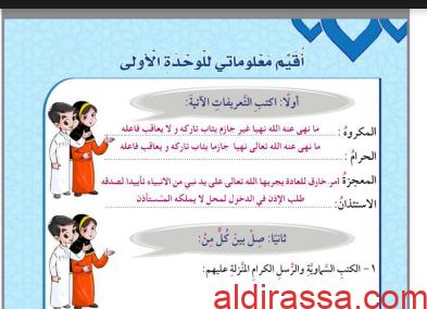 حل الوحدة الاولى اسلامية للصف الرابع اعداد وضيحه الشمري