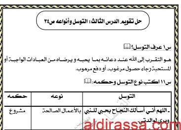 حل تقويم درس التوسل وانواعه اسلامية للصف الحادي عشر