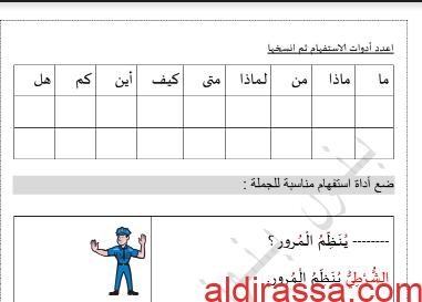 درس ادوات الاستفهام لغة عربية للصف الثالث 2019 2020