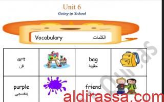 مذكرة unit6 لغة انجليزية للصف الأول الفصل الأول