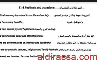 موضوعات مترجمة للصف الحادي عشر الفصل الاول