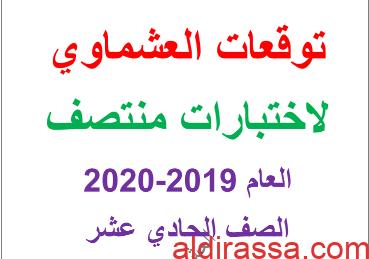 نماذج امتحانية لغة عربية للصف الحادي عشر الفصل الاول العشماوي