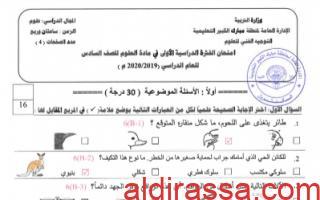 نموذج اجابة امتحان علوم سادس مبارك الكبير فصل اول 2019-2020