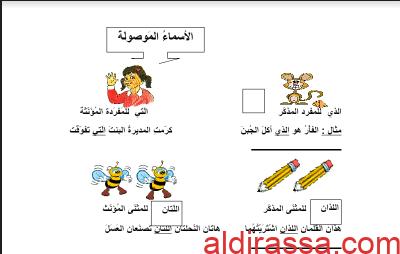 ورقة عمل الأسماء الموصولة لغة عربية للصف الثاني