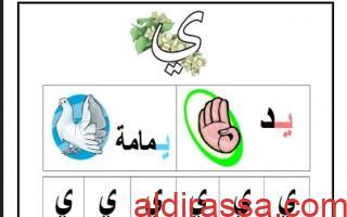 ورقة عمل حرف الياء لغة عربية للصف الأول الفصل الأول